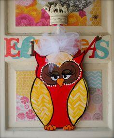 Mama Hoot Door Hanger by ellybeas on Etsy, $35.00. Love this idea for LITTLE BIT