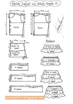باترون مفصل لفستان بنت صغيرة مقاس 2 - 14 - Sew Pattern