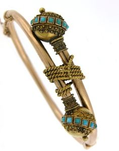 Etruscan revival, Victorian circa 1875, 14k yellow gold hinged bangle accented with turquoise, granulation and wire work.