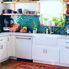 Jungalow® by Justina Blakeney is the one-stop-shop for bohemian-modern home decor + all things all things colorful, patternful +jungalicious. Kitchen Buffet, Modern Kitchen Cabinets, Big Kitchen, Copper Kitchen, Updated Kitchen, Rustic Kitchen, Kitchen Design, Kitchen Decor, Kitchen Backsplash