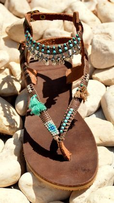 BOHO Genuine leather sandals handmade decorated with beads and tassels Turquoise & Silver Sterling You can decorate your hands, ears, neck- but