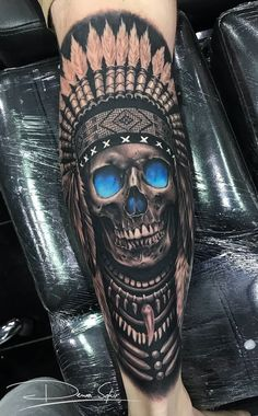 Discover recipes, home ideas, style inspiration and other ideas to try. Indian Headdress Tattoo, Indian Skull Tattoos, Skull Sleeve Tattoos, Leg Sleeve Tattoo, Cool Forearm Tattoos, Best Sleeve Tattoos, Tattoo Sleeve Designs, Forearm Tattoo Men, Tattoo Designs Men
