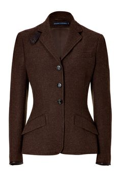 Riding jackets and longer blazers with nipped-in waists can keep your waistline defined, even when you're wearing layers.    Ralph Lauren Tweed Riding Jacket