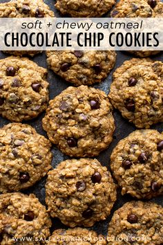The best chocolate chip cookies! These soft & chewy oatmeal chocolate chip cookies have a few tricks to make them undeniably delicious, every time. Biscuits Aux Raisins, Cookies Et Biscuits, Cookies Soft, Köstliche Desserts, Dessert Recipes, Sallys Baking Addiction, Oatmeal Chocolate Chip Cookies, Chocolate Chips, Easy Cookie Recipes