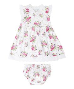 Look at this White Rose Wrap Dress & Diaper Cover - Infant on #zulily today!