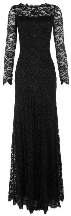 floor length black lace dress