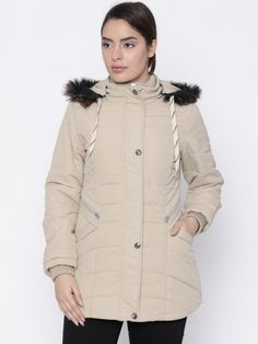 Buy Fort Collins Women Beige Solid Parka With Detachable Hood - Jackets for Women | Myntra