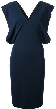 Stella McCartney flared cap sleeve dress on shopstyle.co.uk Deep Blue, Cap Sleeves, Stella Mccartney, Blue Dresses, V Neck, Shopping, Black, Fashion, Moda