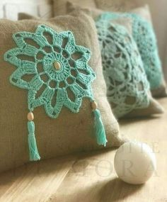 Crochet Lace Edging, Crochet Motifs, Crochet Quilt, Crochet Mandala, Crochet Pillow, Crochet Home, Crochet Crafts, Crochet Doilies, Crochet Baby