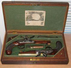 Antique Firearms Cased pair of English flintlock pistols