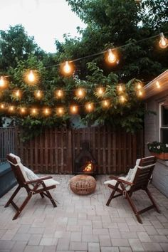 A patio can be a good choice to make your backyard looks more captivating. Check out these backyard patio ideas to improve your backyard look! Outdoor Garden Lighting, String Lights Outdoor, Outdoor Decor, String Lighting, How To Hang Patio Lights, Outdoor Pergola, Backyard Pergola, Wall Lighting, Small Backyard Patio