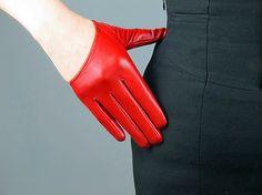 Aus echtem Leder halbe Palm kurze Handschuhe  rot  von EastWorkshop, $14.98