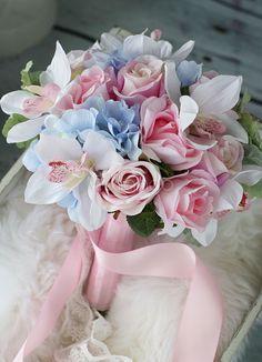 Casamento flores buquê-de-rosa do laço azul fitas redonda flores de seda noivas - Milanoo.com