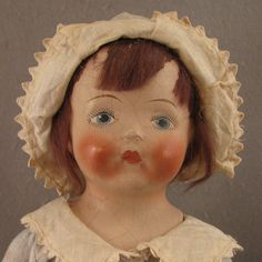 """All Original 14"""" Century Composition Doll c.1920s. Great face shape"""