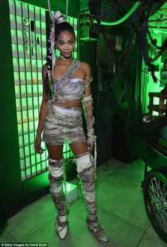 Model Chanel Iman struck just the right balance between sexy and creepy in a mummy outfit ...