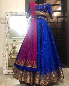 Magic happening at the studio today! Half Saree Lehenga, Lehnga Dress, Indian Lehenga, Silk Lehenga, Bridal Lehenga, Anarkali, Blue Lehenga, Lehenga Style, Desi Wedding Dresses