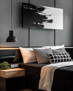 47 Modern Bedroom Interior Design Bedroom Ideas Home Decor Modern House Design, Modern Interior Design, Bedroom Interior Design, Masculine Interior, Luxury Interior, Interior Ideas, Bed Room Design Modern, Black Room Design, Mid Century Interior Design