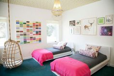 Malm Bed Frame for a Eclectic Kids with a Twin Beds and Twin Girls Bedroom by Abaca Interiors Boys Bedroom Decor, Girl Bedroom Designs, Bedroom Colors, Girls Bedroom, Bedroom Ideas, Bed Ideas, Kids Room Design, Bed Design, Teenage Girl Bed