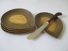 Bamboo Plates Vintage Set of 5 Dessert Sandwich by HobbitHouse