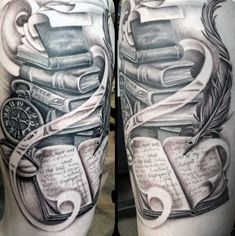 75 Book Tattoos For Men - Reading Inspired Design Ideas - Male Thighs Books And Feathered Quill Tattoo You are in the right place about 75 Book Tattoos For Me - Writer Tattoo, Book Tattoo, Cover Tattoo, Bookworm Tattoo, Neue Tattoos, Body Art Tattoos, Sleeve Tattoos, Cat Tattoos, Arrow Tattoos