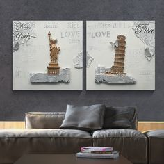 Statue Of Liberty And Tower Of Pisa Abstarct Canvas Painting, View Abstarct…