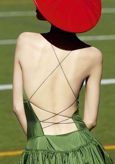 from Take Cover Wang Xiao by Julia Noni for Vogue China, June 2013 Vogue China, Green Fashion, Love Fashion, Red Berets, Summer Dress, Mode Editorials, Julia, Fashion Details, Red Green