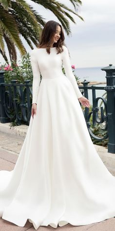 79 Beautiful Simple Wedding Gowns That Will Leave You Speechless, off the shoulder wedding dress,deep plunging neckline wedding dress,long sleeves wedding dress Simple Wedding Dress With Sleeves, Simple Wedding Gowns, Long Wedding Dresses, Long Sleeve Wedding, Wedding Dress Sleeves, Bridal Dresses, Simple Dresses, Dress Wedding, Maternity Wedding