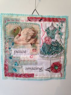 Art quilt, fiber art, mini quilt, collage, textile art, quilt, fabric assembly, embroidery, repurposed, upcycled, vintage, fabric art,