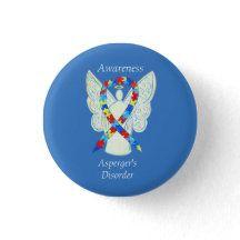 Asperger's Disorder Angel Puzzle Ribbon Pins