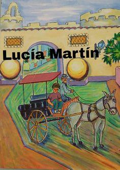 """Ilustraciones de Lucía Martín para el cuento """" Una tartana para la tarde de los lunes """" de J.Nieto."""