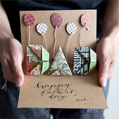 This step-by-step DIY shows how to make folded DAD letters to decorate a simple pop-up card. Includes printable calligraphy.