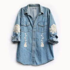 Bliss And Mischief embroidered vintage denim