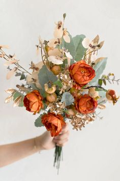 Fall Bouquets, Bride Bouquets, Bridesmaid Bouquet, Greenery Bouquets, Fall Wedding Bridesmaids, Orange Wedding Flowers, Sage Green Wedding, Orange Wedding Decor, Sunset Wedding Theme