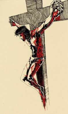Greatest Love by willustration on DeviantArt Jesus Drawings, Jesus Art, Bible Art, Jesus Christ Art, Catholic Art Jesus, Catholic Art, Crucifixion Art, Jesus Art Drawing, Christ Tattoo