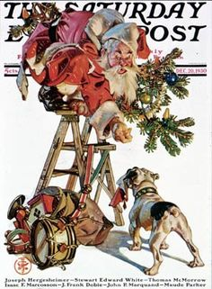 Saturday Evening Post Cover (December Illustration by Norman Rockwell Norman Rockwell Christmas, Norman Rockwell Art, Norman Rockwell Paintings, Illustration Noel, Illustrations, American Illustration, Christmas Past, Vintage Christmas, Christmas Cover