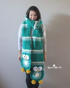Ravelry: Crochet Owl Super Scarf pattern by Sarah Zimmerman Crochet Owls, Free Crochet, Knit Crochet, Crochet Patterns, Ravelry Crochet, Owl Patterns, Quick Crochet, Crochet Shawl, Crochet Scarves