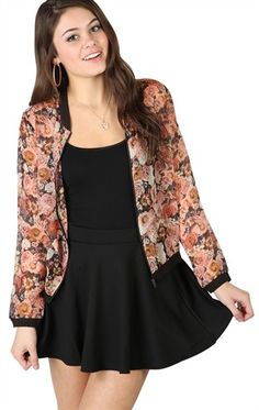 Deb Shops Baseball Jacket with Large Floral Print and Zip Up Front $19.42