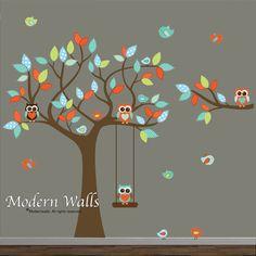 Children Wall Decals For Nursery-Tree with Branch,Swing,Monkeys Owls Birds