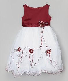 Another great find on #zulily! Burgundy Rose Satin Dress - Toddler & Girls by LA Sun #zulilyfinds