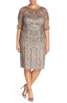 Plus Size Womens Adrianna Papell Beaded Cocktail Dress Size 24W - Metallic $221.40 AT vintagedancer.com