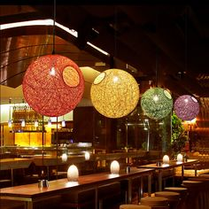 21.99$  Watch now - http://alihvg.shopchina.info/1/go.php?t=32801697062 - Simple Rattan Ball Chandelier Lamp multiple Color Natural Handmade twine vines ball lights Restaurant Bar Lighting without bulb  #aliexpressideas