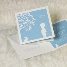 Babyblauw silhouet kaartje