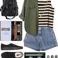 The Artist: Olive jacket, stripes, jean shorts, black Vans ,black backpack