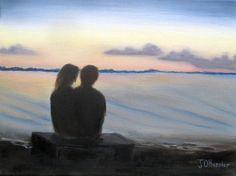 Watching the Sunset Over the Lake is a 16″x12″x3/4 original oil painting on canvas of a silhouetted couple watching the sunset over a calm lake.