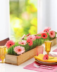 "Love the ""planted"" look of this centerpiece created with wheat grass and gerbera daisies.  Pink Posey Design created a similar style using tulips. :)"