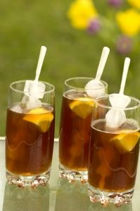 Iced Tea  7 cups near boiling filtered water  1/3 cup granulated sugar (more or less to taste)  8 black tea bags- such as Lipton