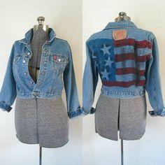 American Flag Denim Jacket Grunge Vintage by rileybellavintage