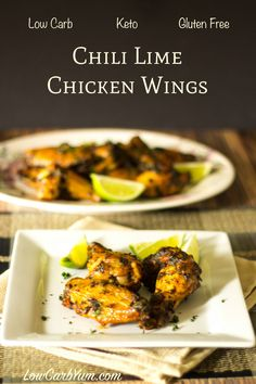 Buttery Chili Lime Chicken Wings – Gluten Free Enjoy these low carb and gluten free buttery chili lime chicken wings at your next cookout or party. These tasty wings make a great appetizer or main dish. Chili Lime Chicken, Low Carb Chicken Recipes, Cooking Recipes, Keto Chicken, Keto Recipes, Ketogenic Recipes, Free Recipes, Ketogenic Diet, Oven Cooking