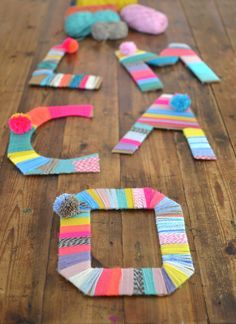Yarn-wrapped cardboard letters. Easy and fun art project for kids!