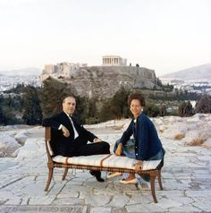 Saridis and his wife in front of the Acropolis